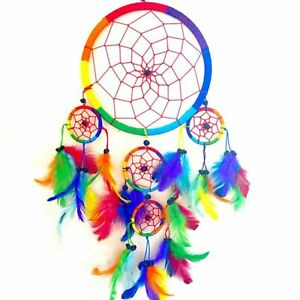 Large Multi Colourful Rainbow Dreamcatchers Rainbow Feather Kids ...