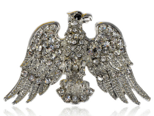 American Eagle Crystal Rhinestone Patriotic Soaring Bird Silver Tone Lady Brooch