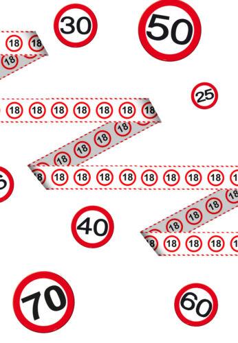 (0,19€/m) Absperrband Verkehrs Schild Dekoration Geburtstags PARTY Jubiläum NEU