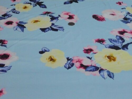 SCUBA HEAVY STRETCH JERSEY ROSE FLORAL-AQUA BLUE-DRESS FABRIC-FREE P/&P UK ONLY