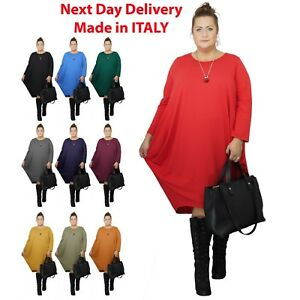 New-Womens-Plus-Size-Midi-Dress-Party-Cocktail-Loose-Baggy-Long-Sleeve-Plain
