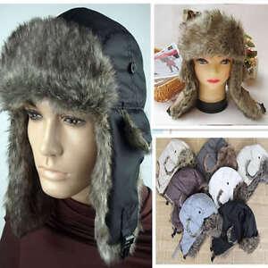 d94ca07f6ed16 Trapper Bomber Warm Russian Trooper EAR FLAPS Winter Ski Hat Men Cap ...
