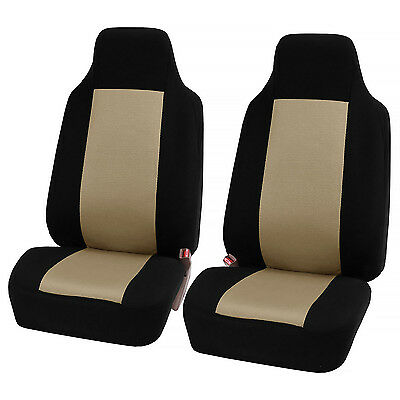 FH Group Beige Fabric Universal Front Bucket Seat Covers (Set of 2)