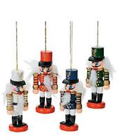 Wooden Nutcracker Ornaments 4 Piece Christmas Decoration
