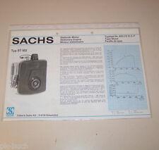Typenblatt / Technische Daten Sachs Stationär Motor ST 102 - Stand 1977!
