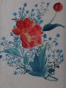 Belle-aquarelle-japonaise-XIXeme-fleurs-Old-japanese-flower-painting