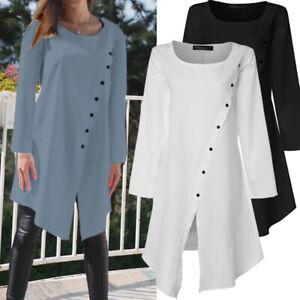 Plus-Size-Women-Loose-Tunic-Blouse-Long-Sleeve-Asymmetric-Top-Button-Down-Shirts