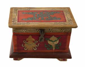 Scatola Cofanetto Tibetano Buddista Dorje Conch Vaso Tresor Loto Nepal 20cm 5802