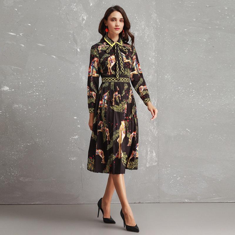 TWE59 damen Designer Inspirot Vintage Pleated Bow Tie Long Sleeve Dress 2019