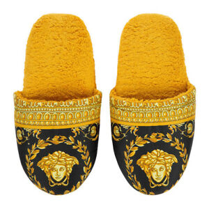 cf3b5e4a4 Versace Baroque Medusa Bath Slippers 1 Pair - Size S - Black Gold | eBay