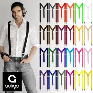 Hosentraeger-Herren-Damen-Hosen-Traeger-Y-Form-Style-Clips-Schmal-Neon-Bunt-Farbig
