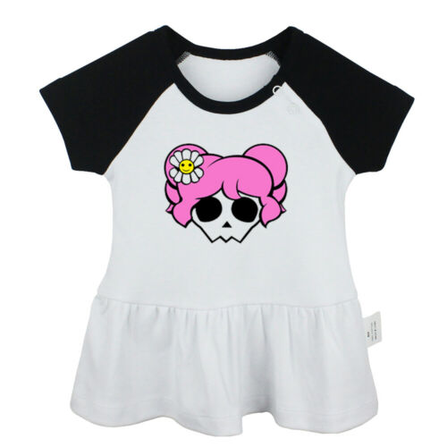 Lovely pink hair skull Newborn Baby Girls Dress Toddler Infant Cotton Clothes