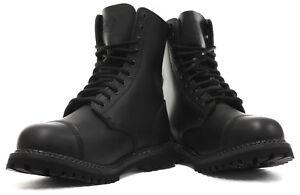 Grinders STAG Original Boots Black Leather Steel Toe Cap Punk Rock Mod 10 Hole