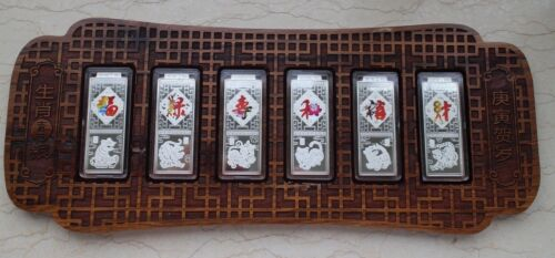 Lunar Year of the Tiger China 2010 6 x 20g Colorized Silver Bars Medals