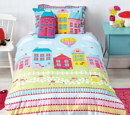 SINGLE DOUBLE Cubby House Kids Lovely Lane Reversible Quilt Doona Cover Set