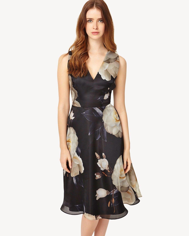 Phase Eight Charlize velato nero seta Peonia anni'50 Fit N Flare Dress 12 NUOVO SENZA ETICHETTE