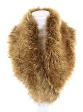 B106 Faux Fur Collar Stole Scarf Wrap Cognac Brown Black Satin Lining Boutique