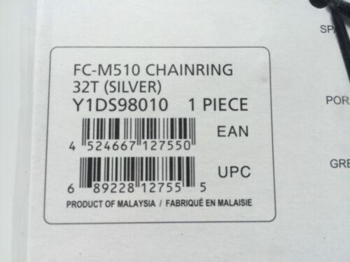 SHIMANO 32T Mega 9 velocità PARACATENA DEORE FC-M510 M440 SILVER y1ds98010 104mm BCD