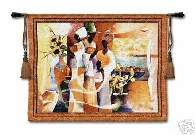 Euphony African Woman Picture Tapestry Wall Hanging 53 x42