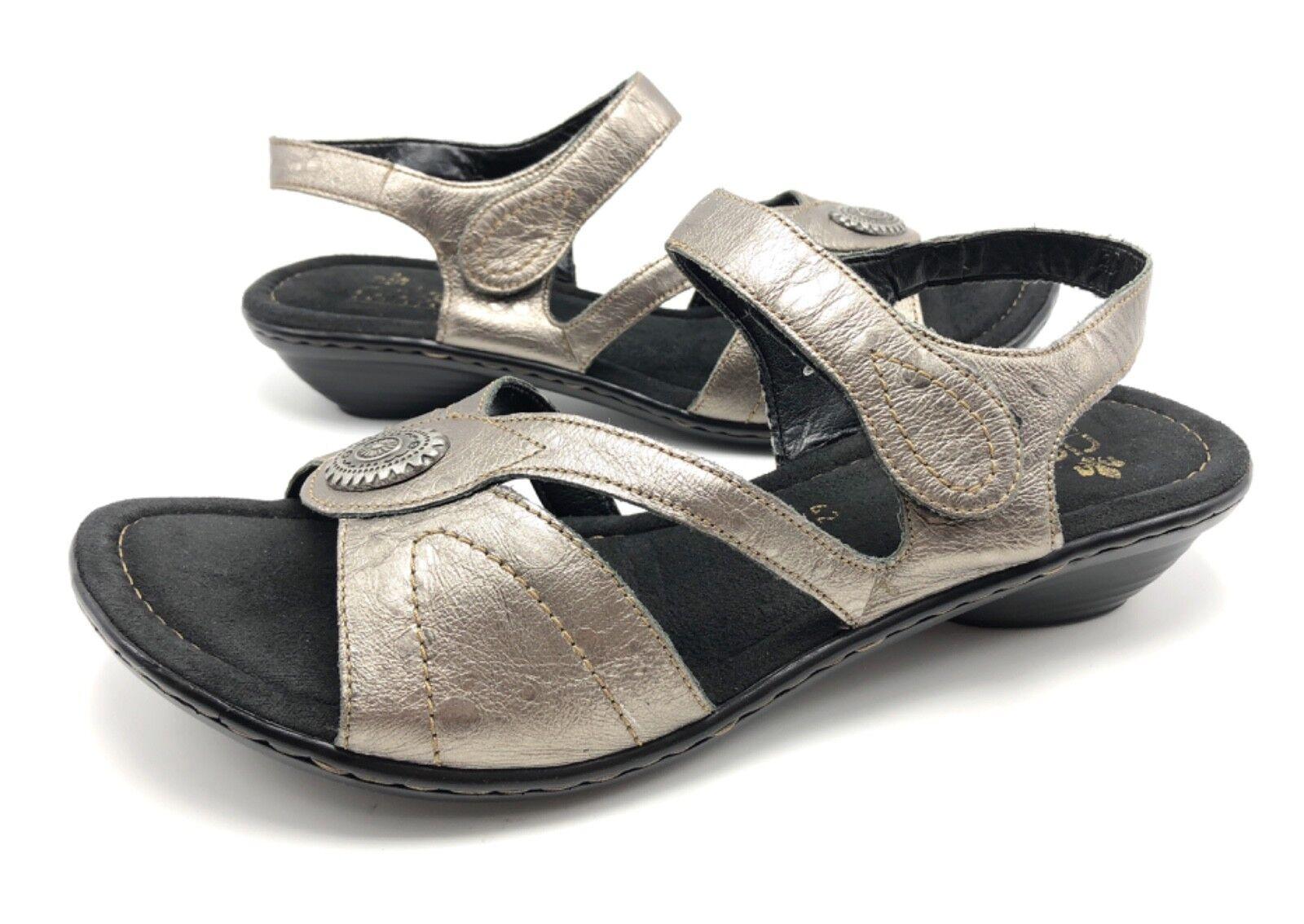 Rieker Rieker Rieker para mujer 42 10 Metálico gris Cuero Correa De Tobillo Comodidad Sandalias de tacón bajo  nuevo estilo