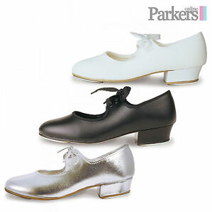 a2104e4777b ROCH VALLEY TAP SHOES GIRLS LOW HEEL SILVER WHITE BLACK PU DANCE 5C ...