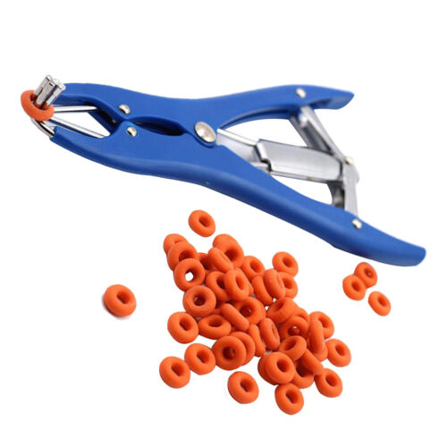 Castrator Plier Elastrator Tool Dock Tail With 100 Castration Rings for Cattle