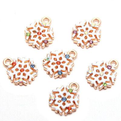 20pcs Multicolor Rhinestone White Enamel Golden Alloy XMAS Snowflake Pendants C