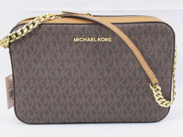 0b499fc3be6fe MICHAEL KORS PVC JET SET LARGE EW CROSSBODY BAG BROWN MK S SMALL-NEW VERSION