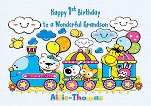 Personalised 1st birthday card train animals 2nd 3rd son grandson image is loading personalised 1st birthday card train animals 2nd 3rd bookmarktalkfo Images