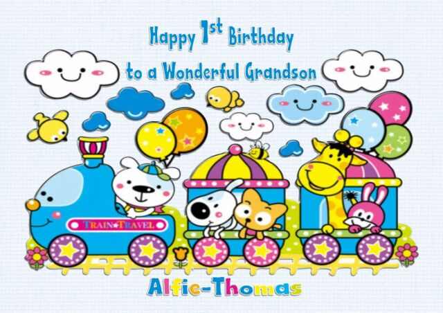 Personalised 1st Birthday Card Train Animals 2nd 3rd Son Grandson