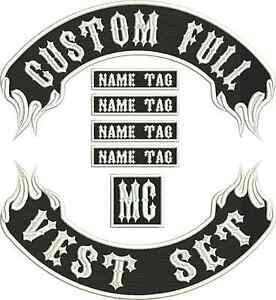 """17"""" Custom Embroidered Flame Full Vest Set Patches MC Biker"""