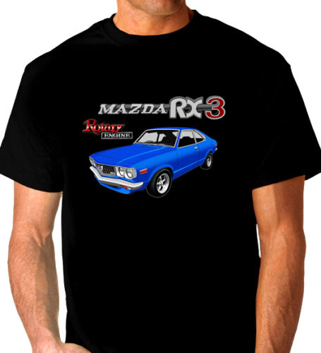 MAZDA  RX3  COUPE ROTARY 12A 13B  QUALITY BLACK T-SHIRT (7 CAR COLOURS)  BIG FIT