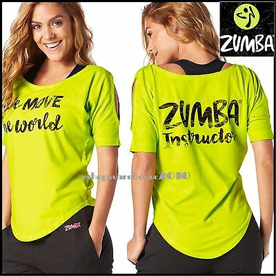 ZUMBA INSTRUCTOR Move the World Cold Shoulder Top Tee - Zumba Green ZWORL17
