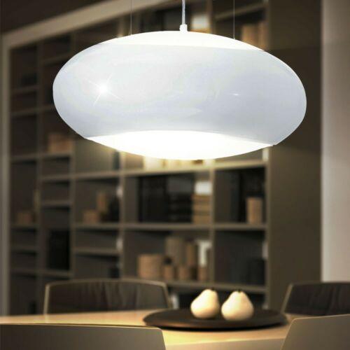 Hänge Pendel Lampe Glas Up Down Wohnraum Loft Leuchte weiß rund Beleuchtung E27