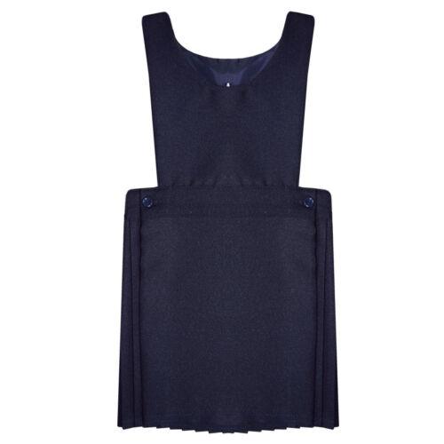 PLEATED PINAFORE DRESS SCHOOL UNIFORM GIRLS KIDS BLACK GREY NAVY  ALL SIZES