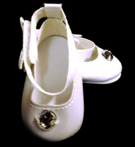 """White Satin Dress Shoes with Rhinestone made for 18/"""" American Girl Doll Clothes"""
