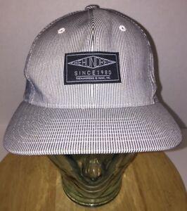 THE HUNDREDS Sample Pinstripe Hat Cap Snapback Black White Gray Bomb ... 701967a20ef1