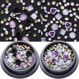 2-Boxen-AB-Farbe-Metall-Rose-Opal-Kristall-Strasssteine-3D-Nail-Art-Decoration