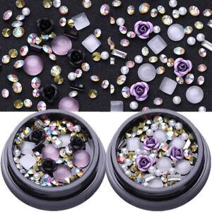 2-Boxen-AB-Farbe-Metall-Rose-Opal-Kristall-Strasssteine-3D-Nail-Art-Decoration