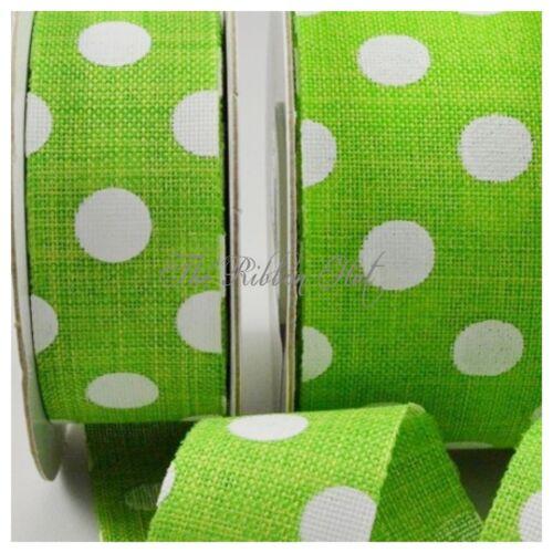 25mm Burlap Polka Dot Printed Ribbon-25mm//38mm 1M//3M//5M