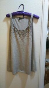 NWT-EILEEN-FISHER-Women-039-s-Tank-Top-Cashmere-Cotton-Sequins-Gray-XS-50