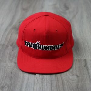 Mens-Vintage-The-Hundreds-Snapback-Cap-Red-Bomber-Spell-Out-Wool-Bomb-Dad