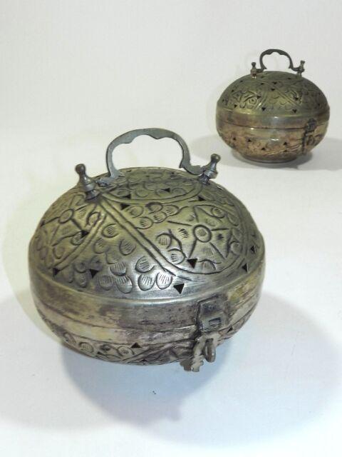 Chinese Cricket Box Cage Paan Daan Betel Nut Box Pair