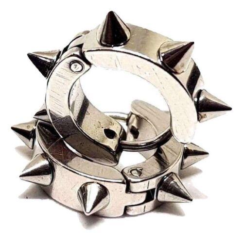 Spike Steel Hugger Earrings Huggie Spike Hoop UK SELLER