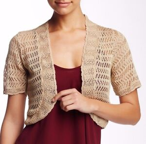 1b05551339 Image is loading New-ELIZA-J-Open-Front-Open-Knit-Natural-