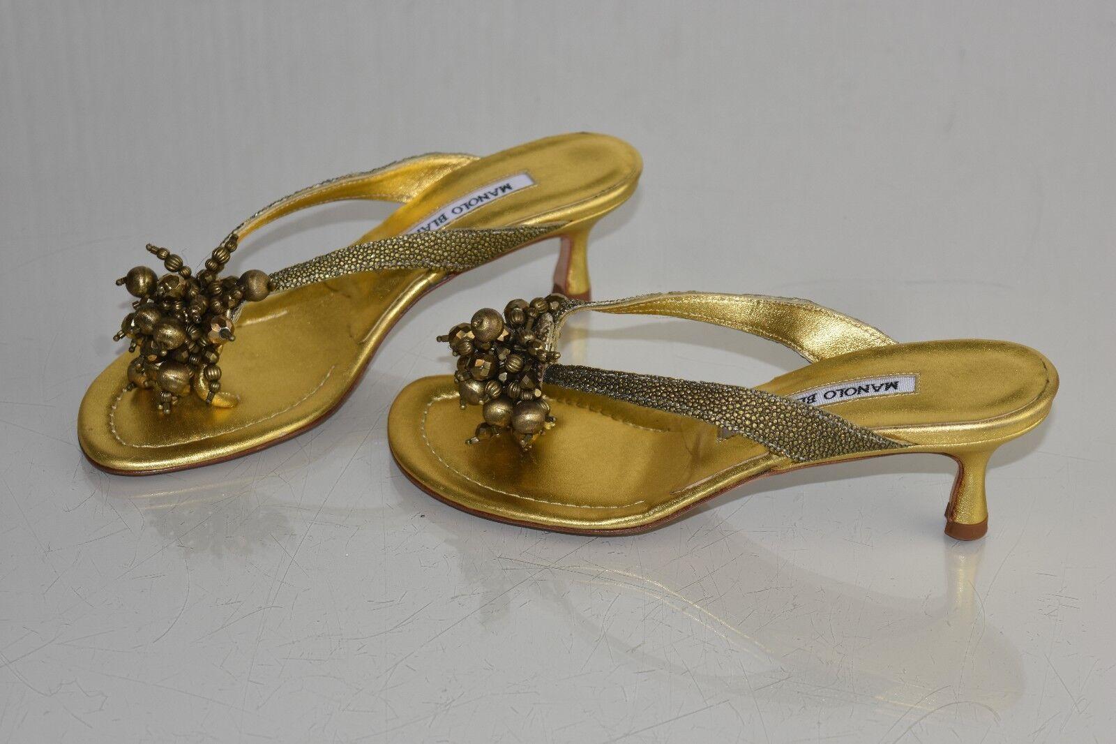 735 New Manolo Blahnik Blahnik Blahnik Jewel Thong SANDALS Slides Gold Kitten schuhe 35.5 40.5 b00938