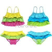 Girls Kids Ruffle Tankini Swimwear Bikini Swimsuit Swimming Costume Age 2-8 Year