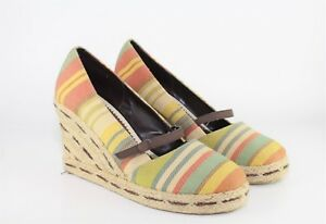 785cd91f3acc Dexter Mary Jane Platform Shoes Multi Color Canvas Wedge Espadrille ...