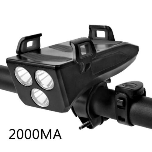 4 in 1 Bright Bicycle Headlight Battery with Bike Horn//Phone Holder//Power Bank