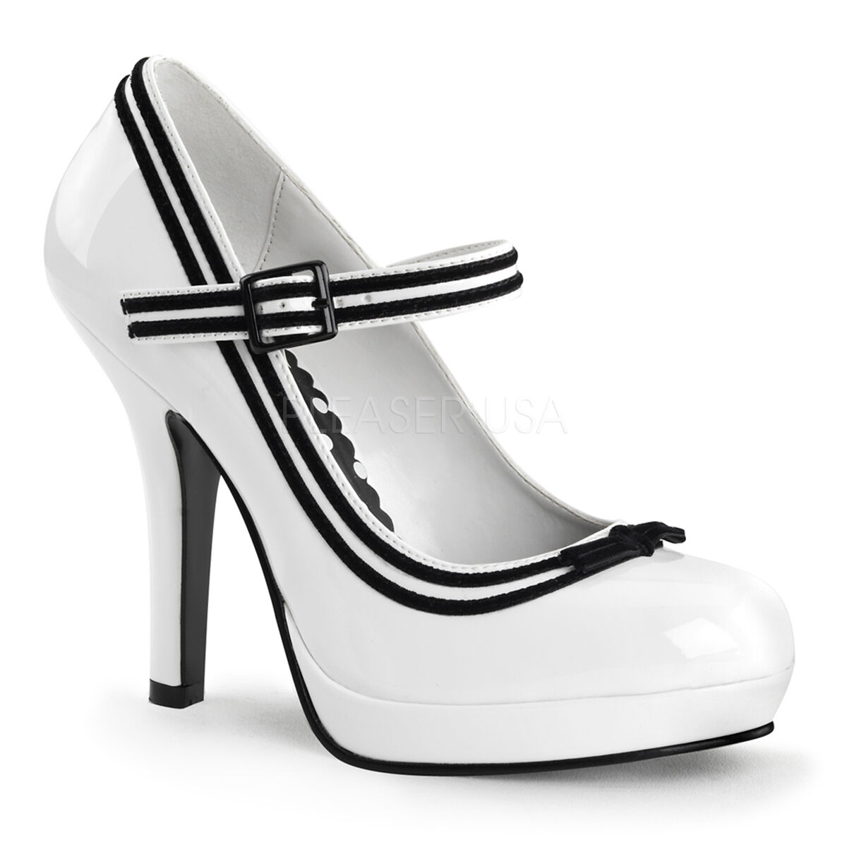 Sexy PLEASER schuhe Retro Vintage Look Weiß Contrast Trim Hot Hot Hot Mary Janes Pumps 244277